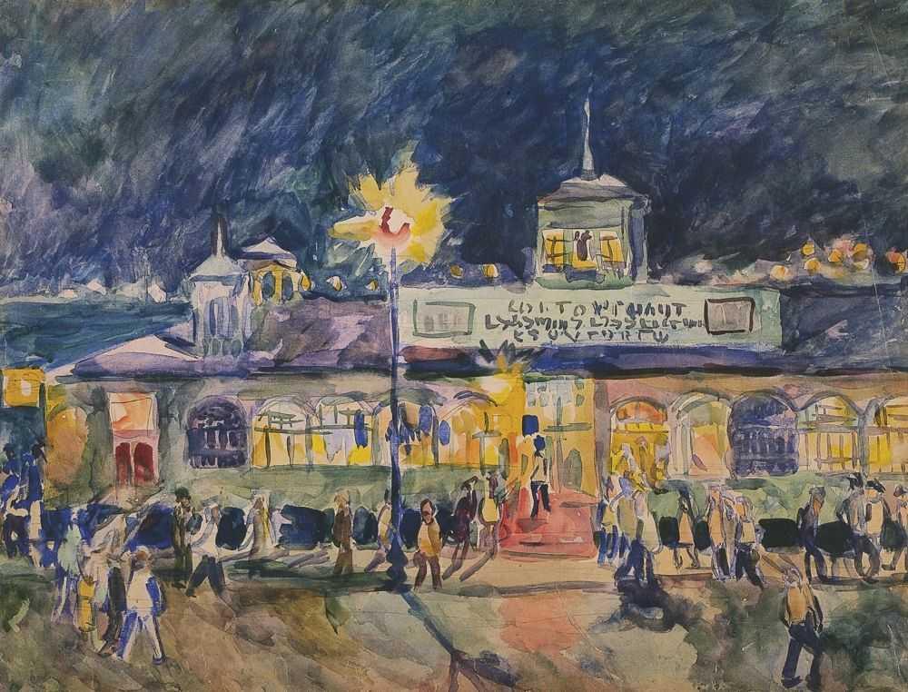 Пристань в Сухуми ночью — Лентулов Аристарх Васильевич