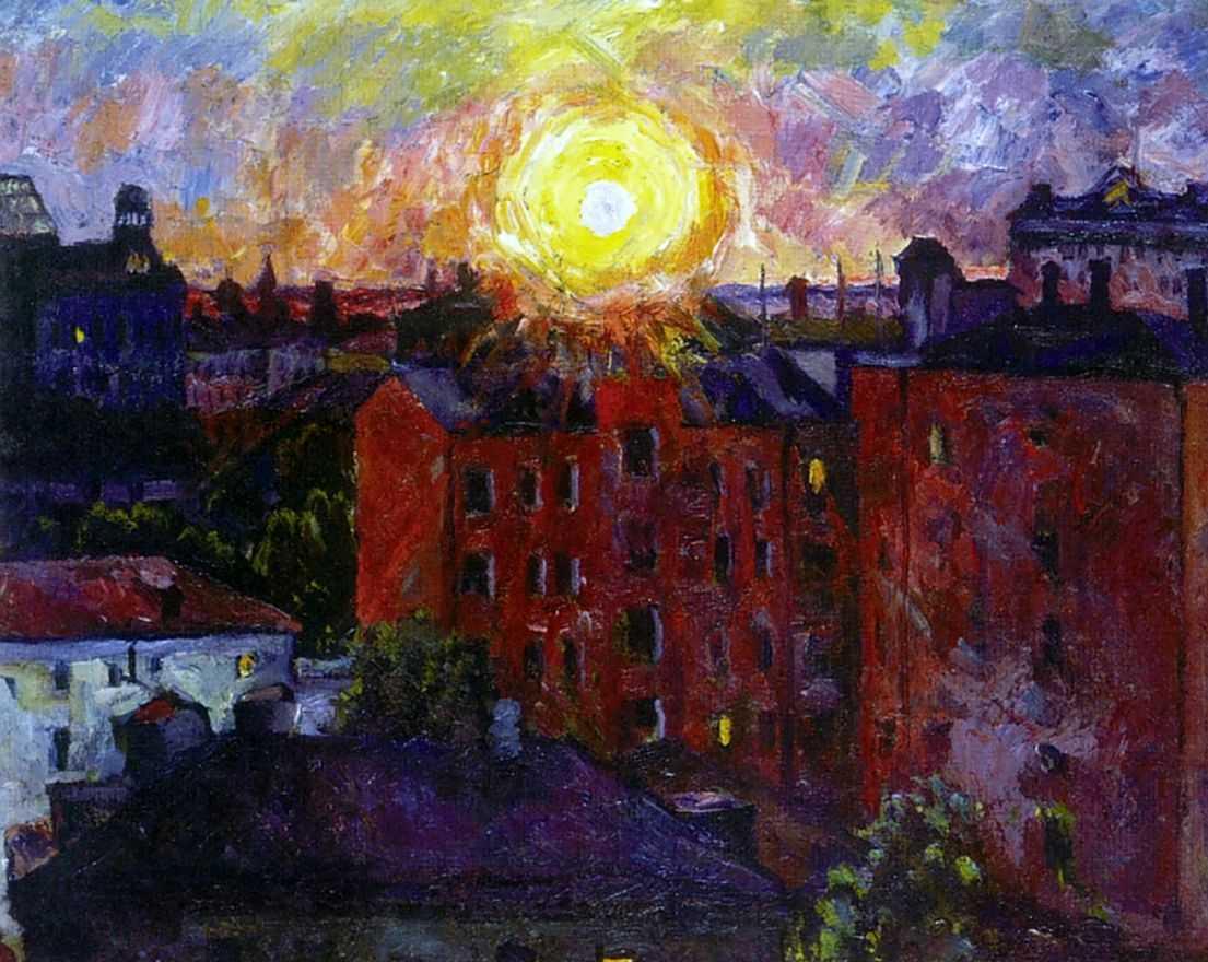 Солнце над крышами. Закат — Лентулов Аристарх Васильевич