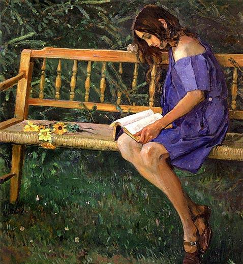 Наташа на садовой скамейке — Нестеров Михаил Васильевич