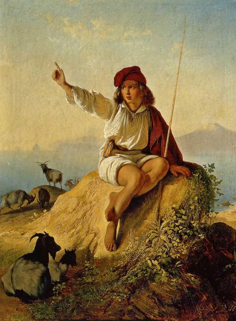 Неаполитанский пастушок на берегу моря, освещенный восходящим солнцем — Нефф Тимофей Андреевич