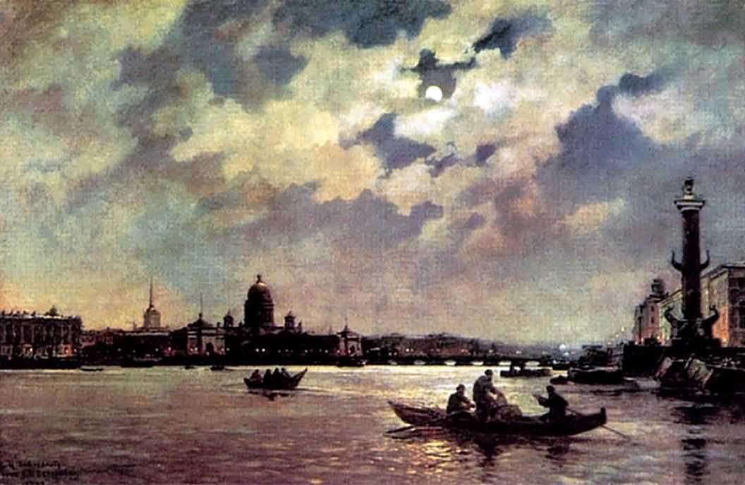 Вид на Неву и адмиралтейскую набережную в лунную ночь — Беггров Александр Карлович