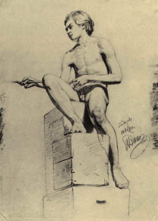 Сидящий натурщик (натурщик - юноша). — Репин Илья Ефимович