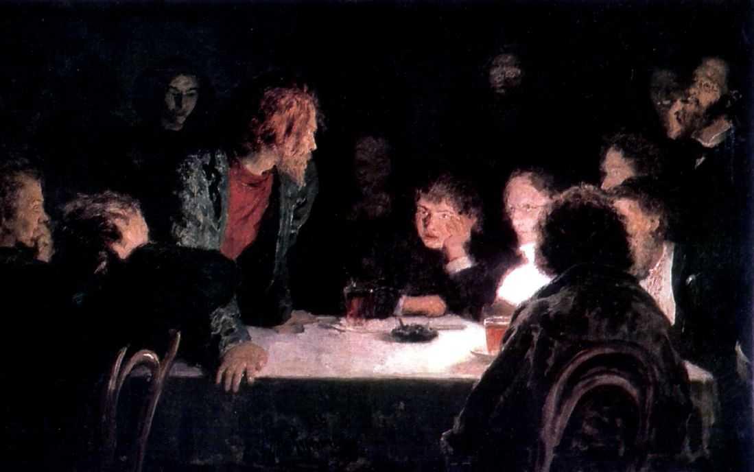 Сходка (При свете лампы). — Репин Илья Ефимович