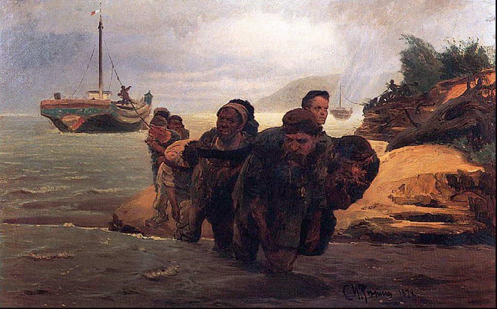 Бурлаки идущие вброд — Репин Илья Ефимович