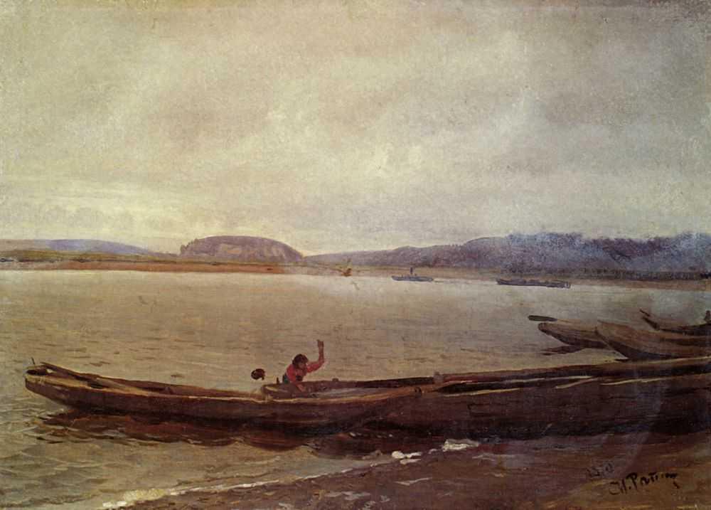 Волжский пейзаж с лодками. Этюд — Репин Илья Ефимович