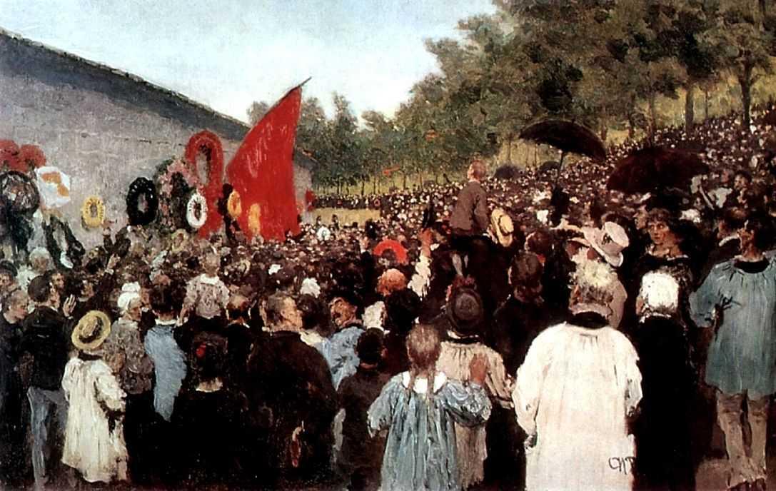 Годовой поминальный митинг у стены коммунаров на кладбище Пер-Лашез — Репин Илья Ефимович
