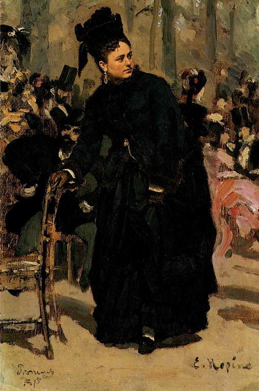Дама, опирающаяся на спинку стула. Этюд для картины «Парижское кофе». — Репин Илья Ефимович