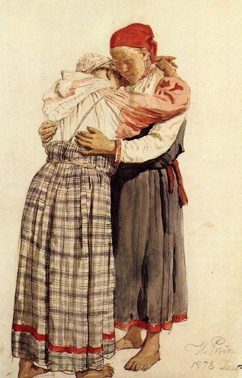 Две женские фигуры (обнимающиеся крестьянки). Этюд — Репин Илья Ефимович