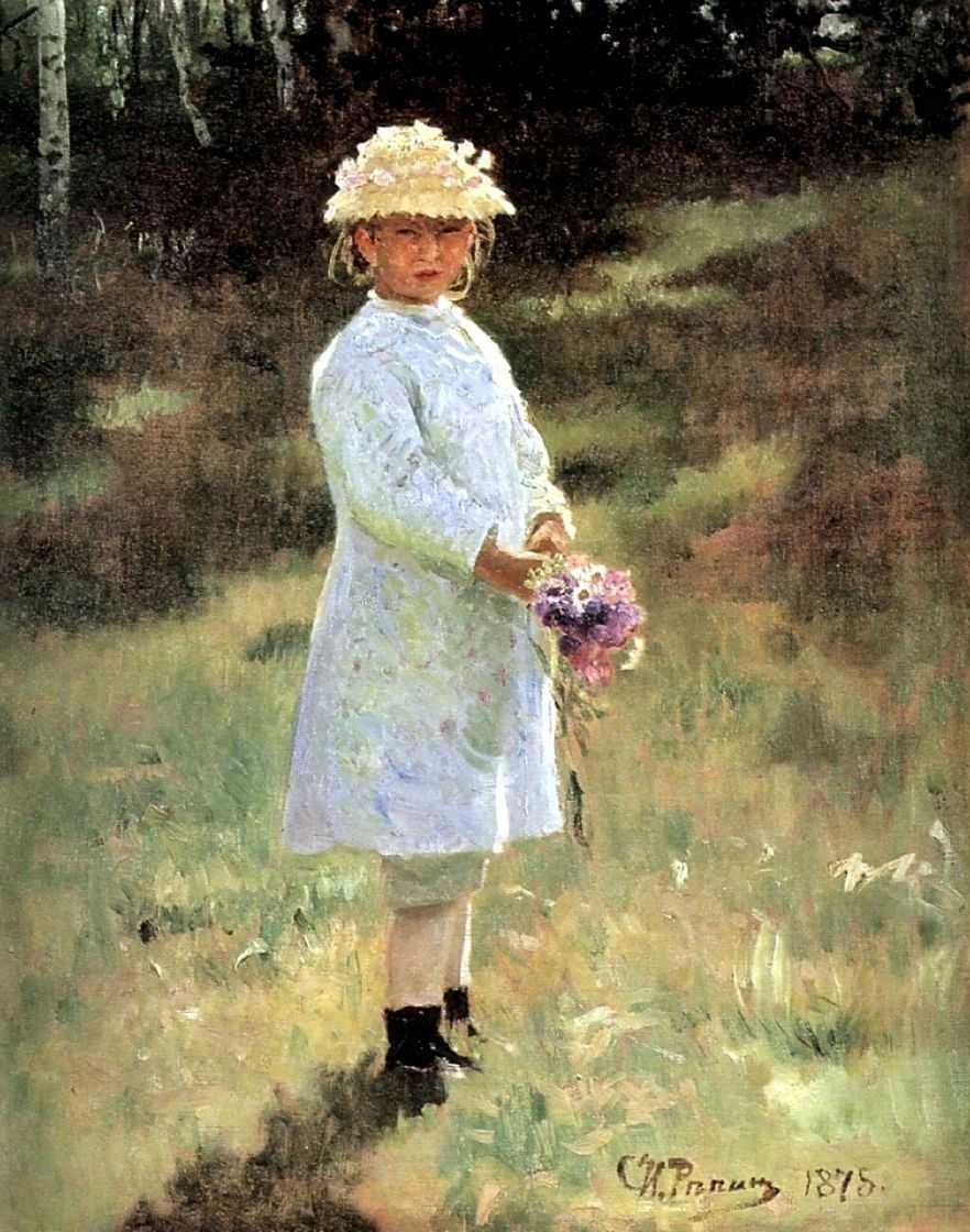 Девочка с букетом цветов (Вера Репина). — Репин Илья Ефимович