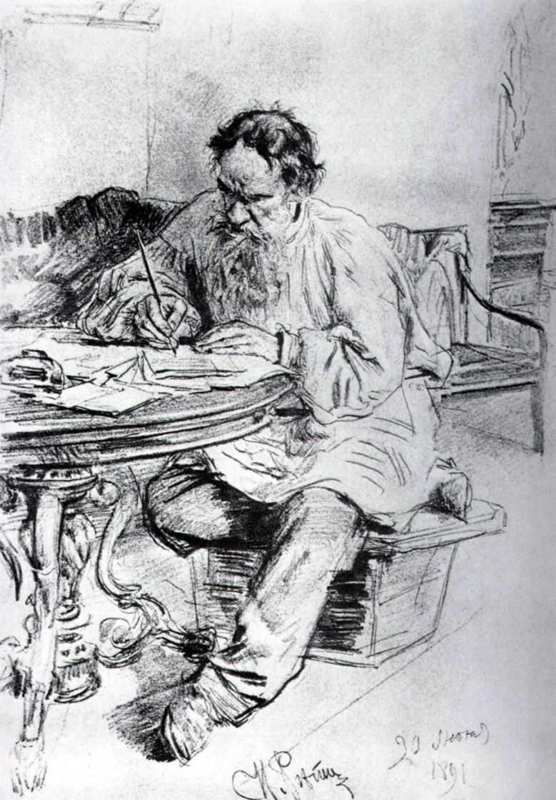 Л.Н.Толстой, пишущий за круглым столом в ясной поляне — Репин Илья Ефимович