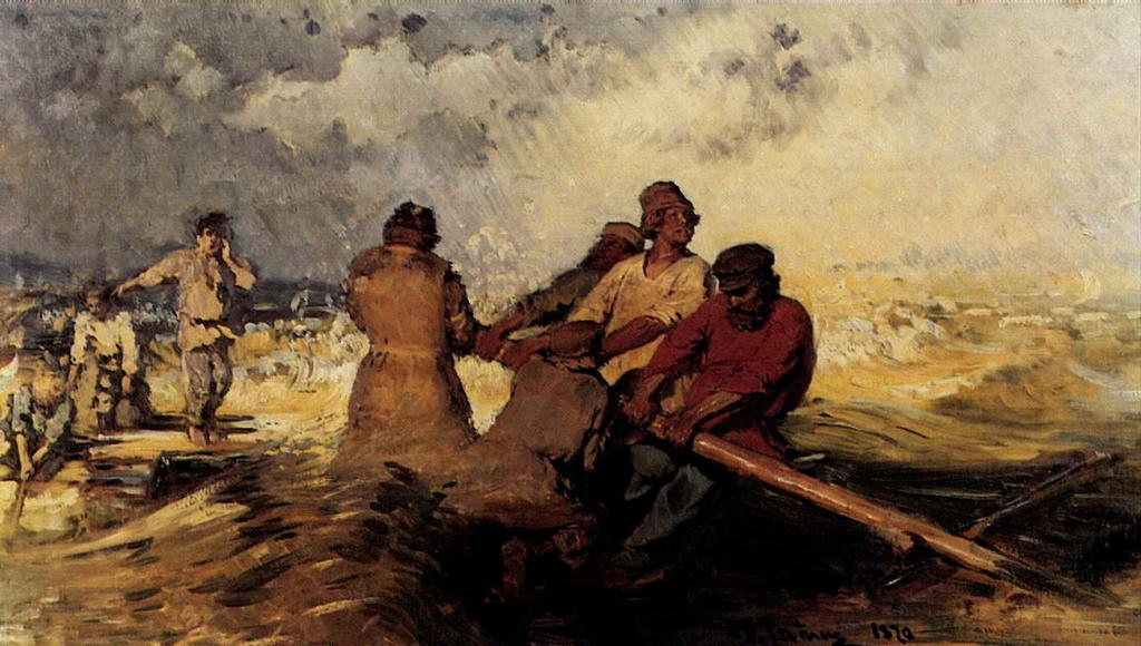 На плоту в шторм на Волге — Репин Илья Ефимович