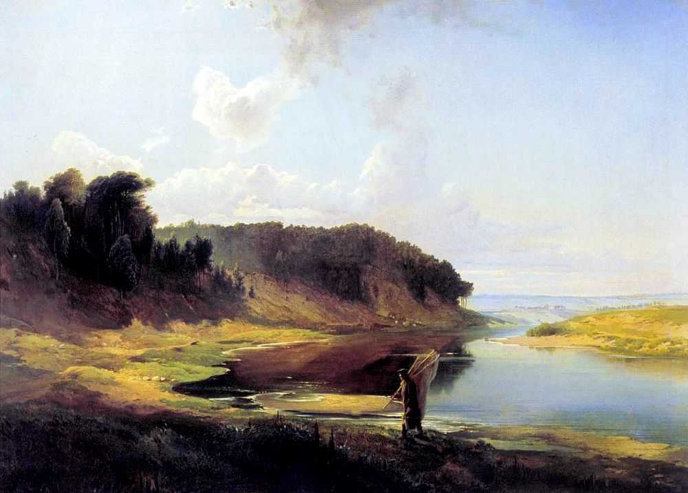 Пейзаж с рекой и рыбаком — Саврасов Алексей Кондратьевич