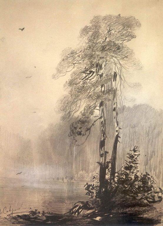 Сосны на берегу озера — Саврасов Алексей Кондратьевич
