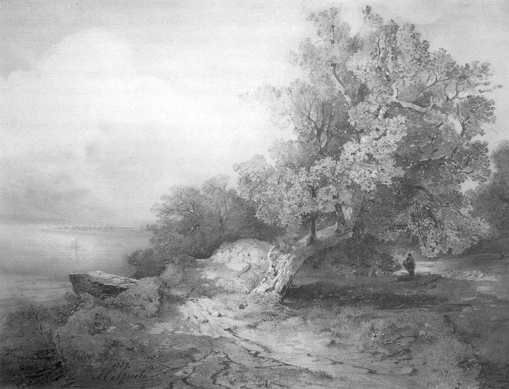 Старый дуб у обрыва над рекой — Саврасов Алексей Кондратьевич
