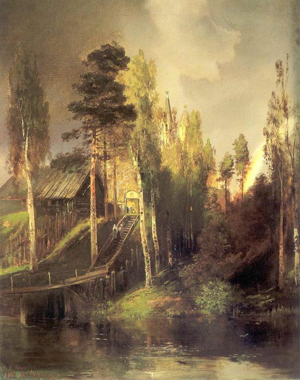 У ворот монастыря — Саврасов Алексей Кондратьевич