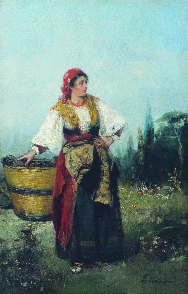 Женщина с корзиной — Сведомский Павел Александрович