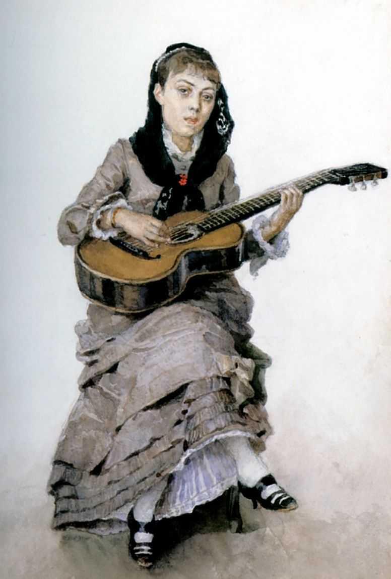 С гитарой (Портрет С.А.Кропоткиной). — Суриков Василий Иванович