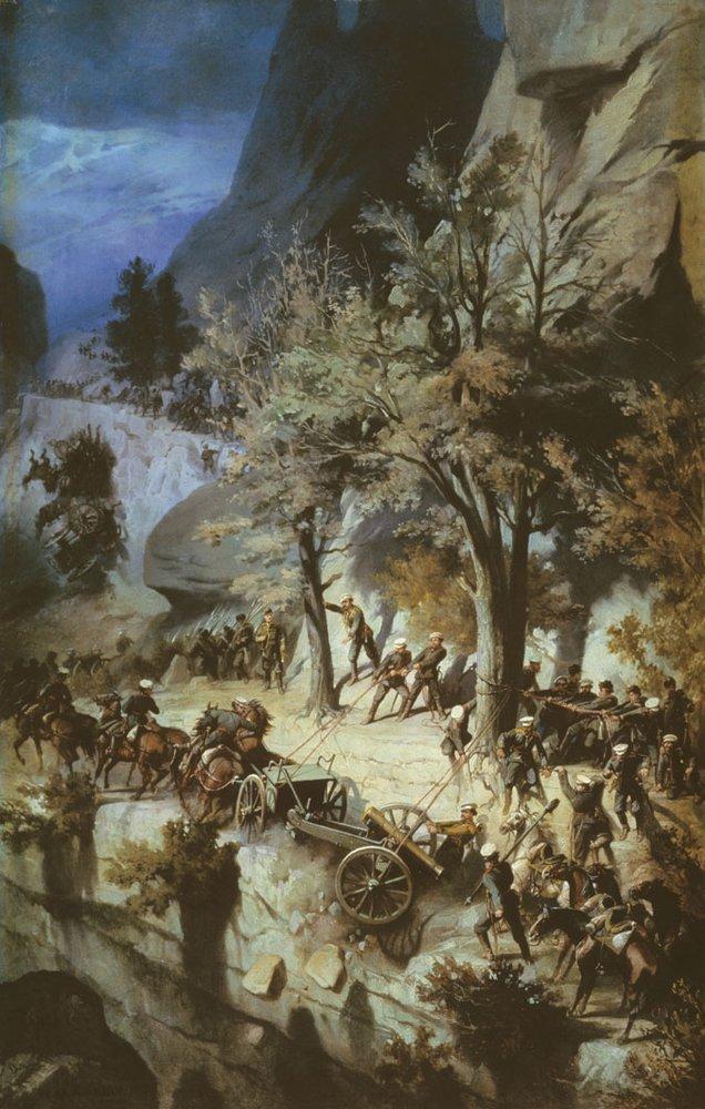 Переход лейб-гвардии 6-й Донской батареи через Балканы — Шарлемань Адольф Иосифович