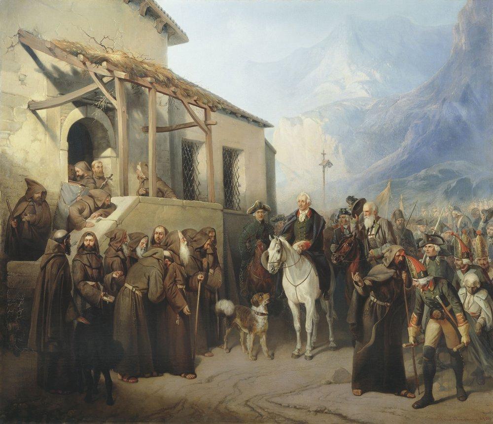 Фельдмаршал А.В.Суворов на вершине Сен-Готарда 13 сентября 1799 года — Шарлемань Адольф Иосифович
