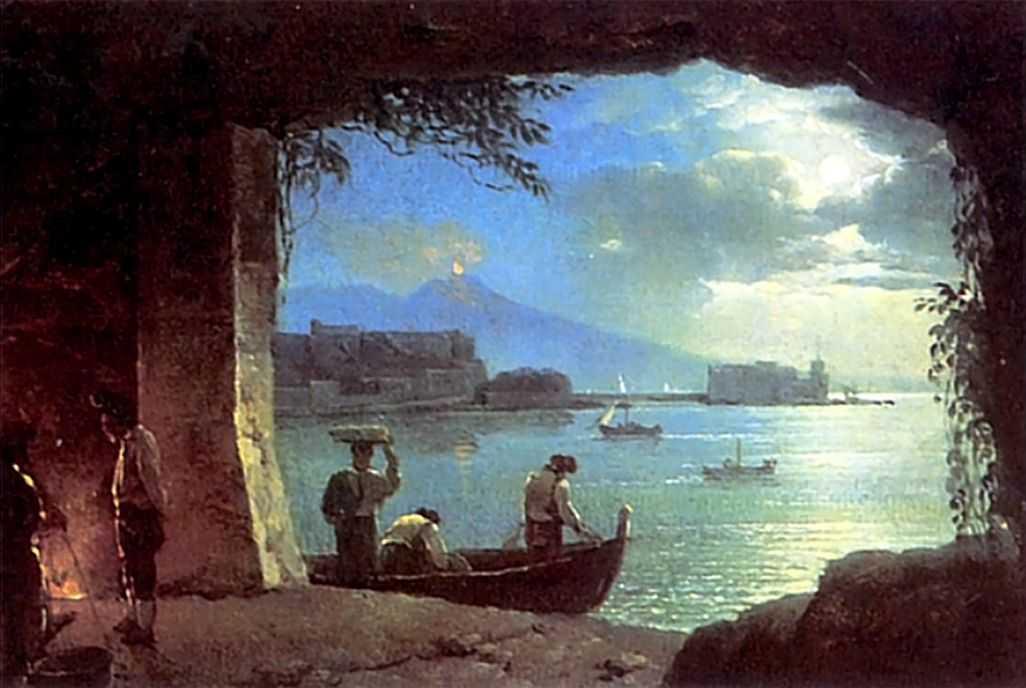 Вид из грота на Везувий и Кастелло дель Ово в лунную ночь — Щедрин Сильвестр Феодосиевич