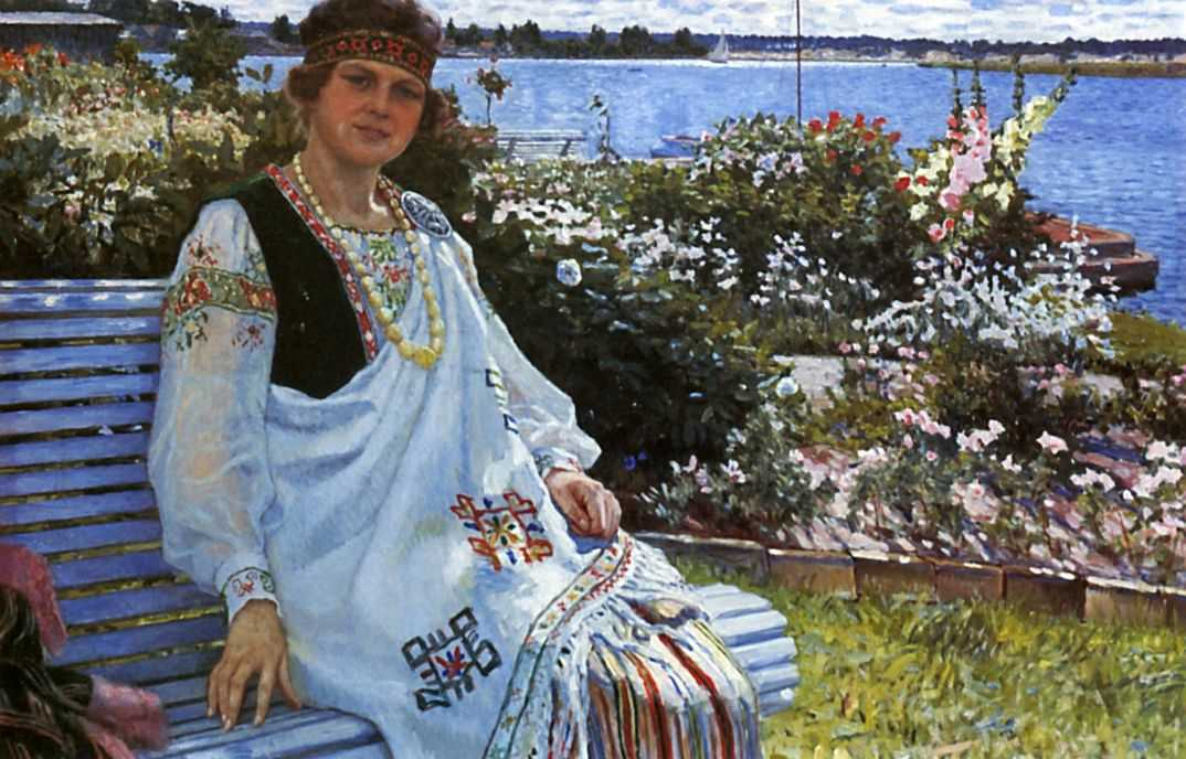Весна. Портрет госпожи И.Баумане — Богданов-Бельский Николай Петрович