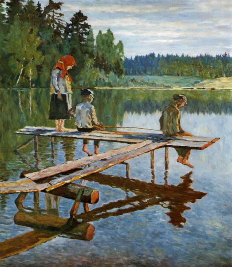Вечер (Удильщик). — Богданов-Бельский Николай Петрович