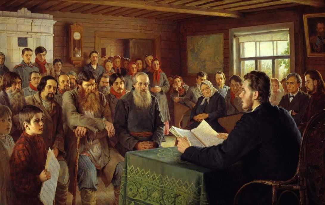 Воскресное чтение в сельской школе — Богданов-Бельский Николай Петрович
