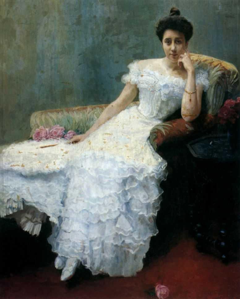 Дама с розами — Богданов-Бельский Николай Петрович