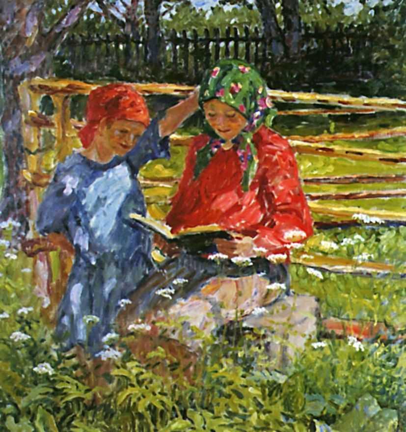Девочки в платочках — Богданов-Бельский Николай Петрович