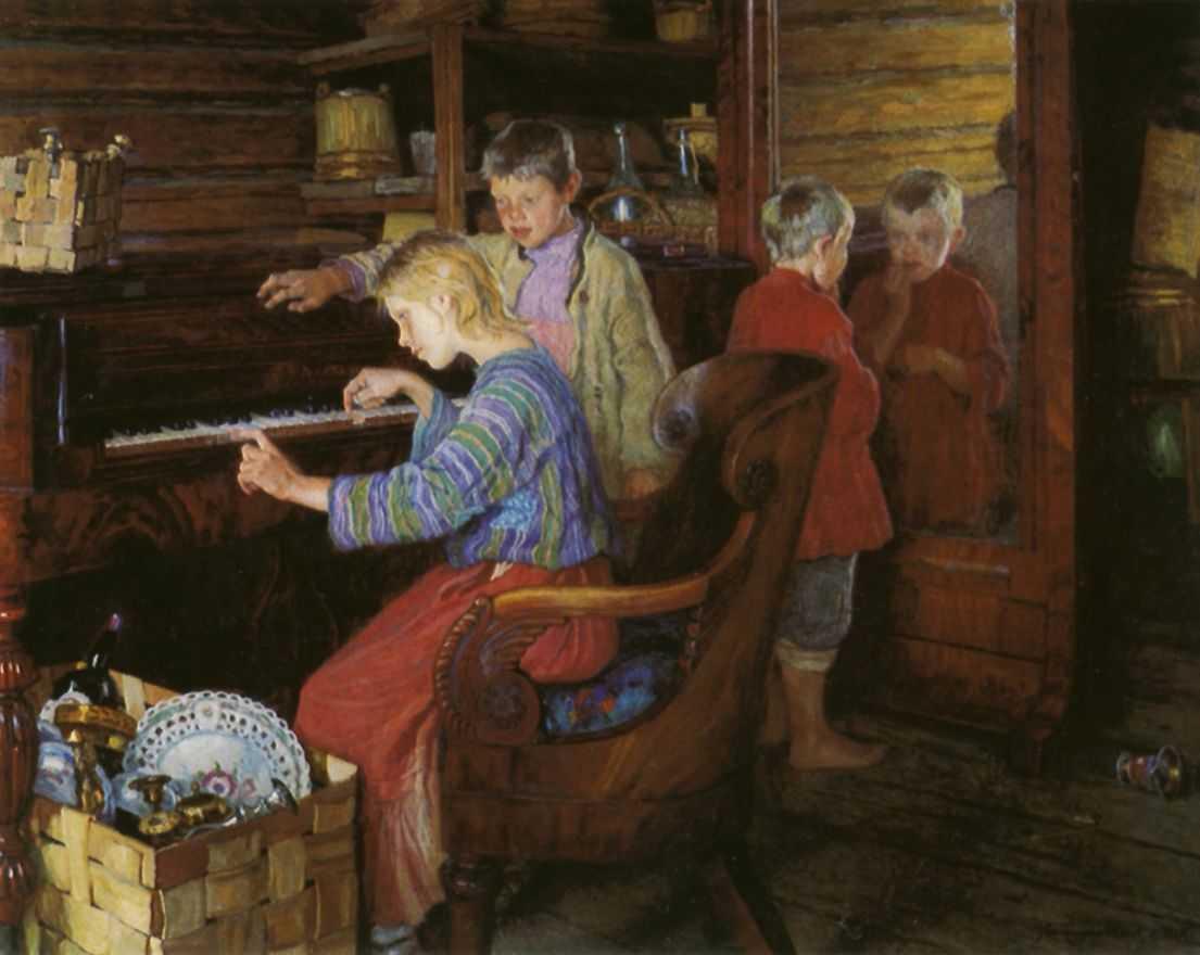 Дети за пианино — Богданов-Бельский Николай Петрович