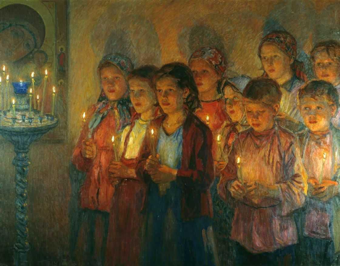 В церкви — Богданов-Бельский Николай Петрович