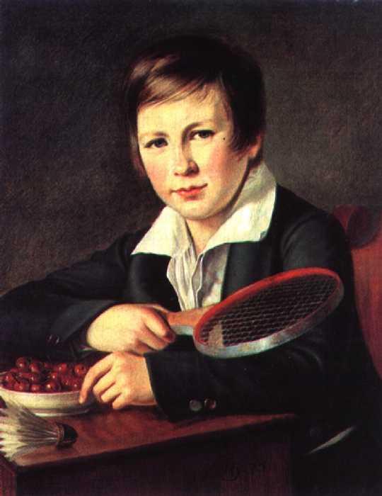 Портрет Н. А. Томилова в детстве, с ракеткой для игры и волан. — Варнек Александр Григорьевич
