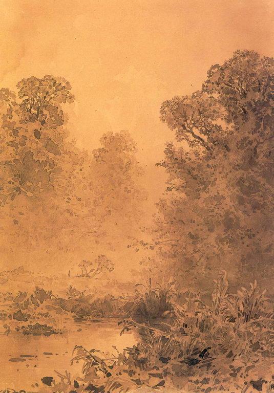 Болото в лесу. Туман — Васильев Федор Александрович