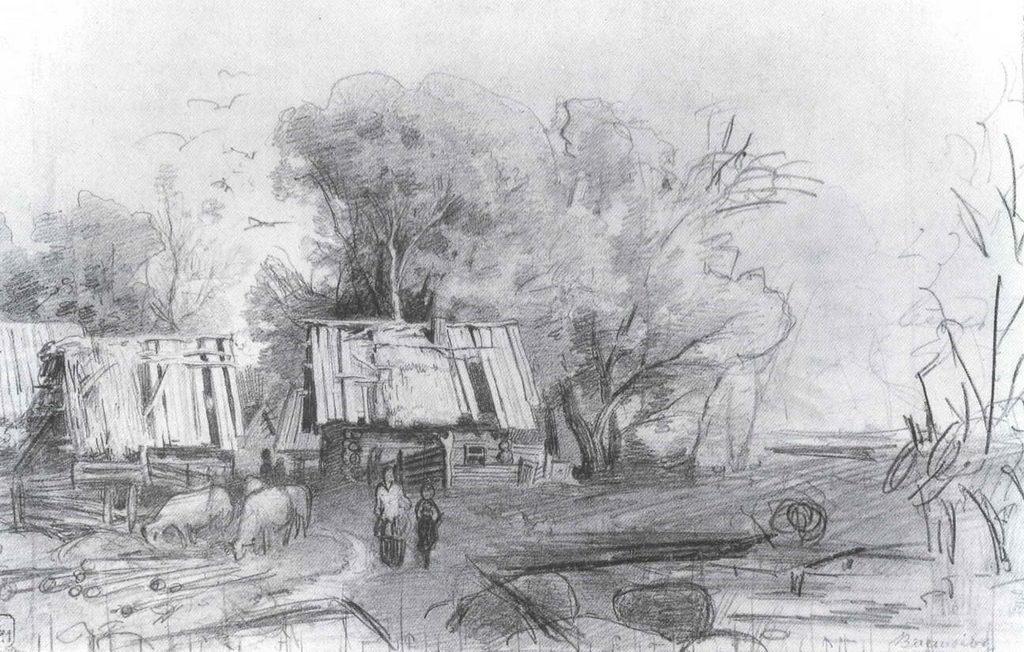 В деревне. Эскиз картины «Деревня». — Васильев Федор Александрович