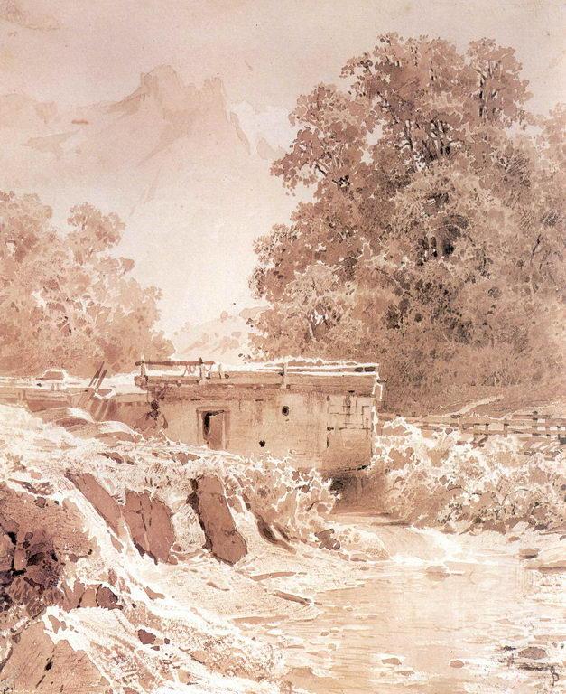 Водяная мельница на горной речке. Крым — Васильев Федор Александрович