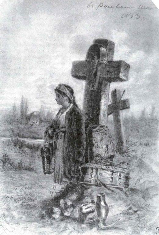 Девушка-украинка на старом кладбище — Васильев Федор Александрович