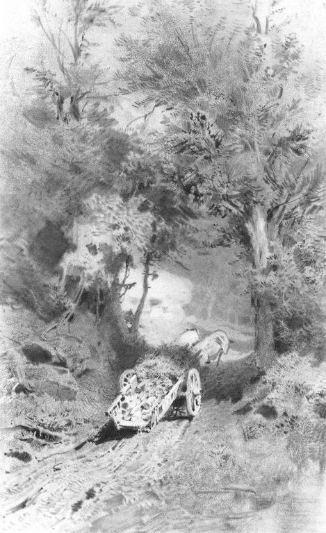 Арба на дороге в горном лесу. Крым — Васильев Федор Александрович