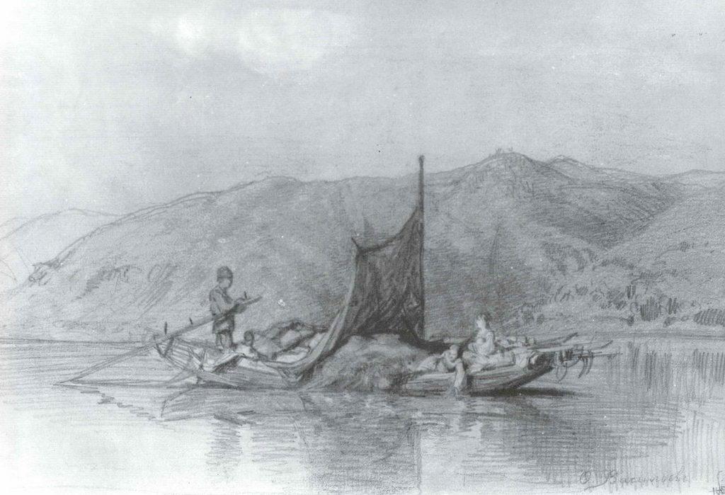 Крестьянское семейство в лодке — Васильев Федор Александрович