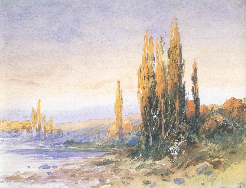 Пирамидальные тополя на берегу озера. Вечер — Васильев Федор Александрович