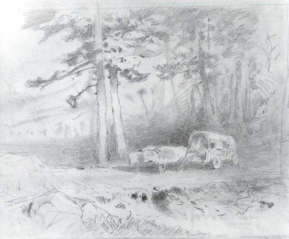 Повозка, запряжённая волами. на лесной дороге — Васильев Федор Александрович