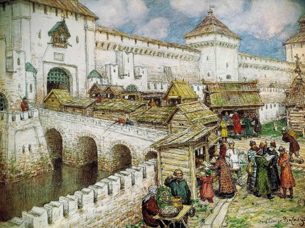 Книжные лавочки на Спасском мосту в XVII веке — Васнецов Аполлинарий Михайлович