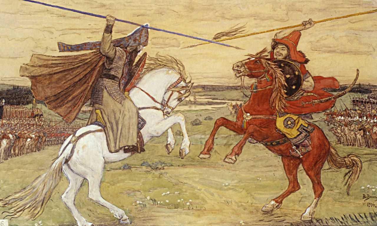 Единоборство Пересвета с Челубеем (Поединок Пересвета с Чебубеем на Куликовом поле в 1380 году). — Васнецов Виктор Михайлович