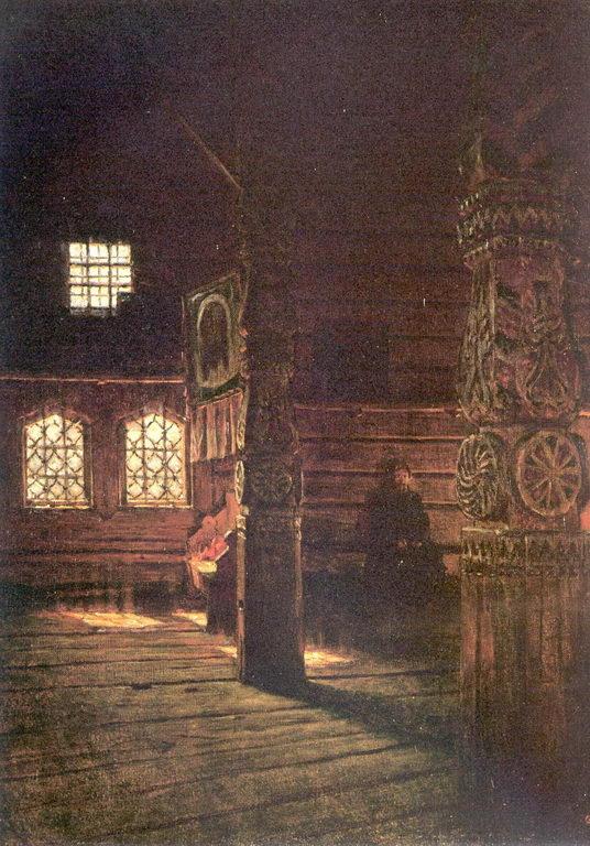 Внутренний вид деревянной церкви Петра и Павла в Пучуге. Этюд. — Верещагин Василий Васильевич