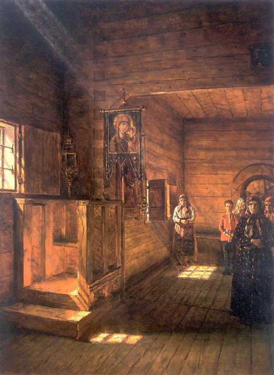 Внутренний вид церкви Иоанна Богослова на Ишне близ Ростова Ярославского — Верещагин Василий Васильевич