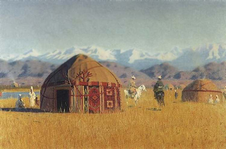 Киргизские кибитки на реке Чу — Верещагин Василий Васильевич