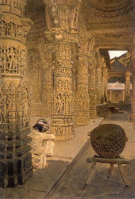 Колоннада в Джаинском храме на горе Абу вечером. — Верещагин Василий Васильевич