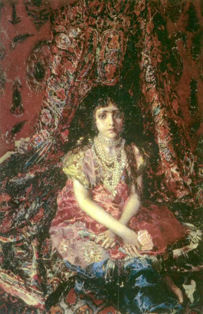 Девочка на фоне персидского ковра — Врубель Михаил Александрович