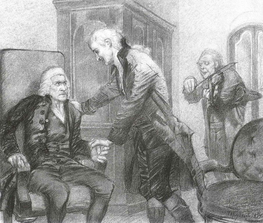 Моцарт и Сальери слушают игру слепого скрипача — Врубель Михаил Александрович