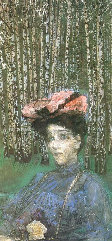 Портрет Н.И.Забелы-Врубель на фоне березок. — Врубель Михаил Александрович