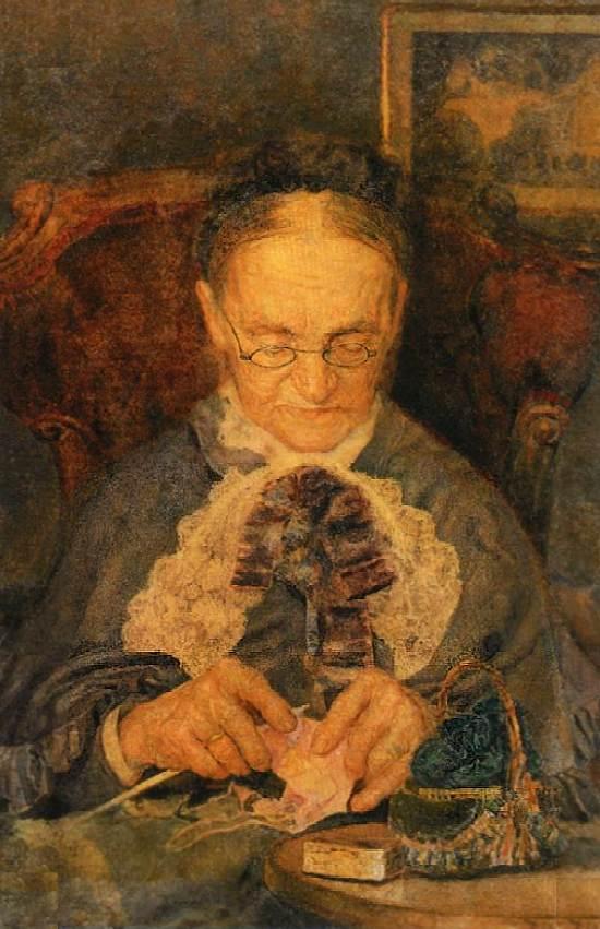 Портрет старушки Кнорре за вязанием — Врубель Михаил Александрович